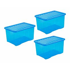 Wham Crystal Boxes 60 Litres Pack of 3 Blue