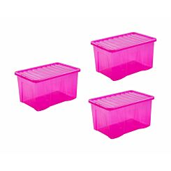 Wham Crystal Boxes 60 Litres Pack of 3 Pink