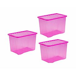 Wham Crystal Boxes 80 Litres Pack of 3 Pink