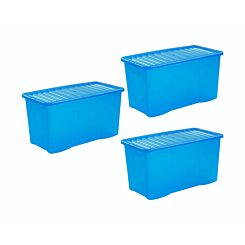 Wham Crystal Boxes 110 Litres Pack of 3 Blue