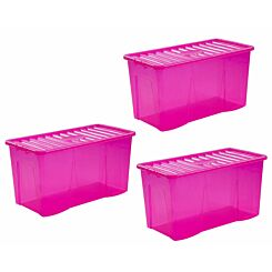 Wham Crystal Boxes 110 Litres Pack of 3 Pink