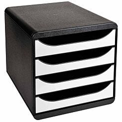 Exacompta Big Box 4 Drawer Set Black/White
