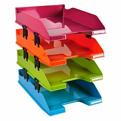 Exacompta Office Letter Tray Midi Combo Pack of 4 Assorted Gloss