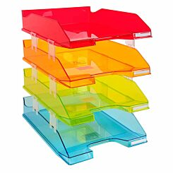 Exacompta Office Letter Tray Midi Combo Pack of 4 Assorted Translucent Gloss