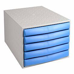 Exacompta THE BOX Closed 5 Drawer Unit Grey/Blue