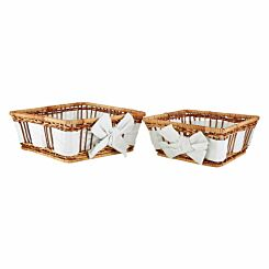 Premier Housewares Natural Fern Baskets with Lining Set of 2