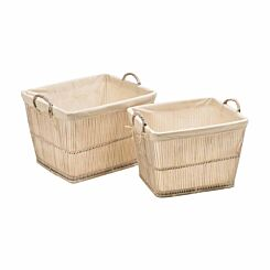 Premier Housewares Rattan and Bamboo Storage Baskets with Cotton Liners Set of 2 White