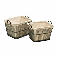 Premier Housewares Rattan and Bamboo Storage Baskets with Cotton Liners Set of 2 Grey