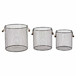 Premier Housewares Black Wire Storage Baskets Set of 3