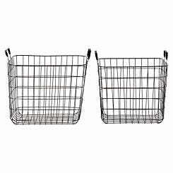Premier Housewares Black Wire Storage Basket with Handles Set of 2