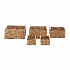 Premier Housewares Water Hyacinth Storage Baskets Set of 5