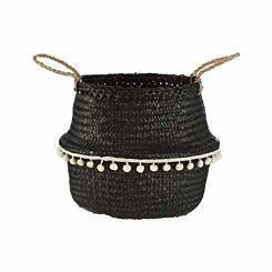 Premier Housewares Small Seagrass Basket Black