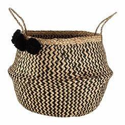 Seagrass Basket Zig Zag Pom Pom
