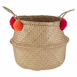Seagrass Basket Natural Pom Pom Medium
