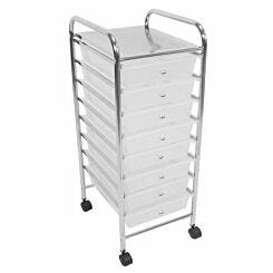 Essentials by Premier Housewares 8 Drawer Trolley with Wheels White