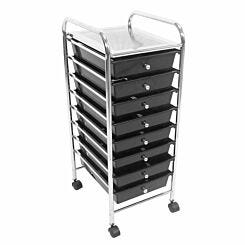 Essentials by Premier Housewares 8 Drawer Trolley with Wheels Black