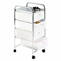 Essentials by Premier Housewares 4 Drawer Trolley with Wheels