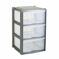 Tontarelli 3 Drawer Tower with Clear Drawers Grey