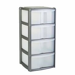 Tontarelli 4 Drawer Tower with Clear Drawers Grey