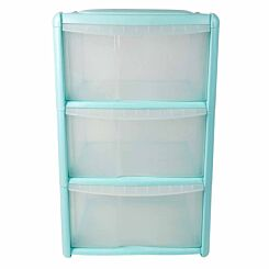 Tontarelli 3 Drawer Tower with Clear Drawers Light Blue