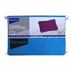 Ryman Office Foolscap Suspension Files Pack of 50 Assorted Colours