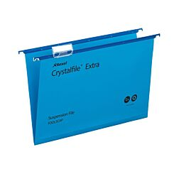 Rexel Crystalfile Extra Foolscap Suspension File 15mm Pack of 25 Blue