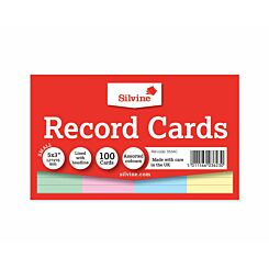 Silvine Record Cards Ruled 127x77mm Pack of 100