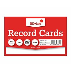 Silvine Record Cards 204x127mm Plain Pack of 100