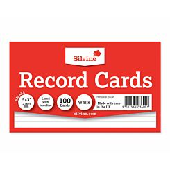 Silvine Record Cards 126x77mm Ruled Pack of 100