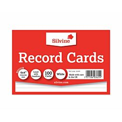 Silvine Record Cards 152x101mm Ruled Pack of 100