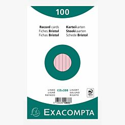 Exacompta Record Cards 12.5x20cm Lined Pink Pack of 100