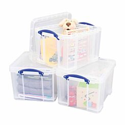 Really Useful Box 35 Litre Clear Pack of 3