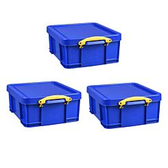 Really Useful Storage Box 18 Litre Pack of 3 Blue