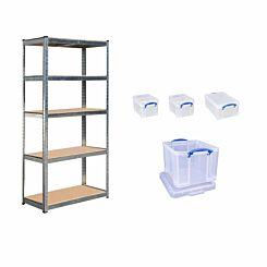 Hika Boltless Shelving with Really Usefull 35L Bonus Box