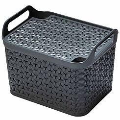 Strata Urban Store Basket with Lid 14 Litre Charcoal