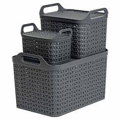 Strata Urban Store Baskets with Lid Set of 3