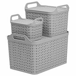 Strata Urban Store Baskets with Lid Set of 3 Grey