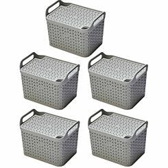 Strata Urban Store Basket with Lid 14 Litre Pack of 5 Grey
