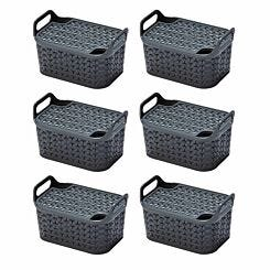 Strata Urban Store Basket with Lid 8 Litre Pack of 6