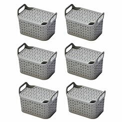 Strata Urban Store Basket with Lid 8 Litre Pack of 6 Grey