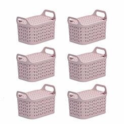 Strata Urban Store Basket with Lid 8 Litre Pack of 6 Blush