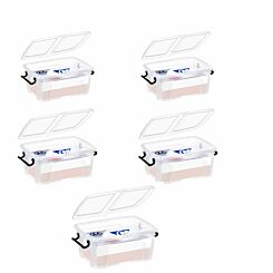 Strata Smart Plastic Storage Box 12 Litre Pack of 5