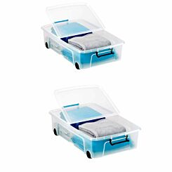 Strata Underbed Smart Plastic Storage Box with Wheels 35 Litre Pack of 2