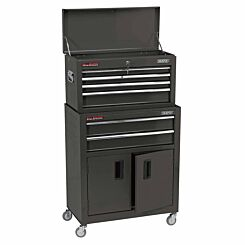 Draper 24 inch Roller Cabinet and Tool Chest with 6 Drawers Black