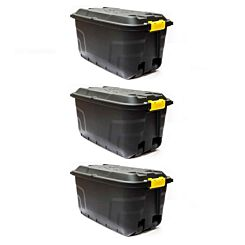 Strata Heavy Duty Storage Box with Wheels 75 Litre Pack of 3