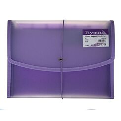 Ryman Expanding File A4 13 Part Clear Purple Piping