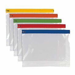 Tiger A4 Plus Polythene Zip Bag Assorted Pack of 25