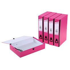 Ryman Colour Box File Foolscap Pack of 5 Pink