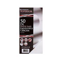 Ryman Laid Envelopes DL 120gsm Peel & Seal Pack of 50 White