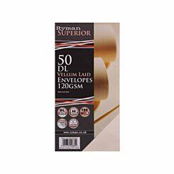 Ryman Laid Envelopes DL 120gsm Peel & Seal Pack of 50 Vellum
